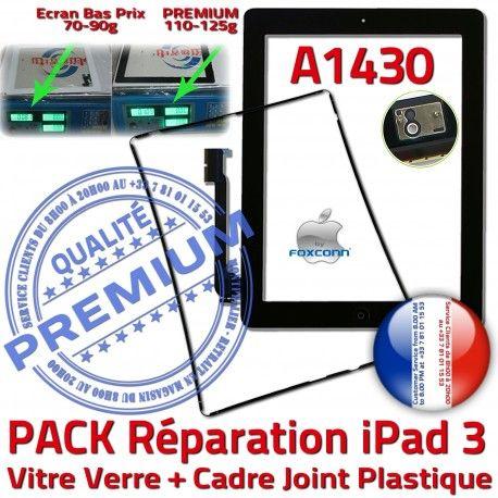 PACK iPad 3 A1430 Joint N Tablette Apple Réparation Noire HOME KIT Cadre Chassis Precollé Bouton Tactile Adhésif Verre PREMIUM Vitre iPad3