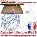 PACK iPad3 Joint B Vitre Contour Tactile Apple PREMIUM HOME Precollée Blanche Cadre Adhésif Verre Réparation Bouton Tablette KIT