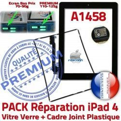 Verre KIT Noire PACK Adhésif PREMIUM Chassis iPad4 Vitre Cadre HOME N Réparation A1458 Joint Bouton iPad Tactile Apple Precollé 4 Tablette