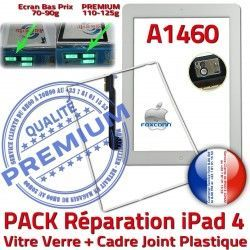 PACK iPad Adhésif PREMIUM iPad4 Réparation Apple Vitre Joint Cadre HOME A1460 Tablette Contour Tactile Bouton B Blanche Precollée 4 Verre
