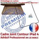 PACK A1460 Joint Nappe N KIT Contour Apple Bouton Cadre Precollé Réparation Tablette Tactile iPad4 Verre Vitre Adhésif HOME Noire Plastique