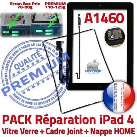 PACK A1460 Joint Nappe N Contour Cadre iPad4 Adhésif Noire Precollé Verre Tablette Tactile KIT HOME Réparation Plastique Vitre Apple Bouton