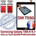 Samsung Galaxy TAB A SM-T550 N TAB-A Assemblée Noir T550 Prémonté Adhésif Verre Noire PREMIUM Qualité Ecran 9.7 Vitre SM Tactile Supérieure