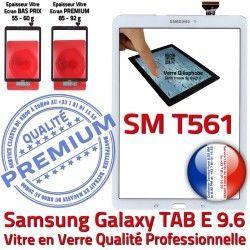 Supérieure Assemblée Ecran Galaxy TAB-E T561 Blanche Verre PREMIUM Blanc Assemblé B Qualité Adhésif Tactile 9.6 SM Vitre SM-T561 Samsung