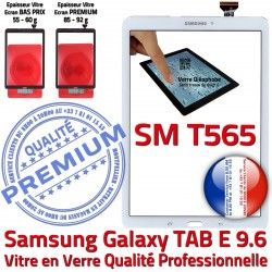 T565 Tactile Adhésif Supérieure Ecran Qualité PREMIUM 9.6 Assemblée B Assemblé Samsung Blanche SM TAB-E Blanc Verre SM-T565 Galaxy Vitre
