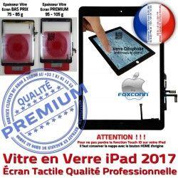 Nappe Vitre Tablette Oléophobe Fixation 9.7 inch Caméra AIR Qualité Ecran Verre iPad Tactile Bouton 2017 Adhésif HOME Réparation Monté Noir