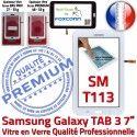 TAB3 LITE SM T113 Blanc Assemblée Adhésif Tactile Prémonté Vitre Ecran Qualité LCD Verre en SM-T113 Samsung PREMIUM Galaxy Blanche Supérieure