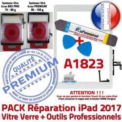 Réparation Bouton Oléophobe iPad Nappe Qualité Blanche A1823 Verre PACK Vitre B Tactile Adhésif AIR Outils HOME PREMIUM KIT Precollé