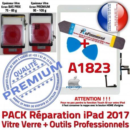 PACK iPad AIR A1823 B Outils Precollé Vitre PREMIUM Verre Qualité Nappe Oléophobe HOME Blanche KIT Réparation Bouton Tactile Adhésif