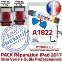 PACK iPad AIR A1822 B Réparation KIT Precollé Verre Tactile HOME Outils Nappe Bouton Vitre Qualité PREMIUM Blanche Oléophobe Adhésif