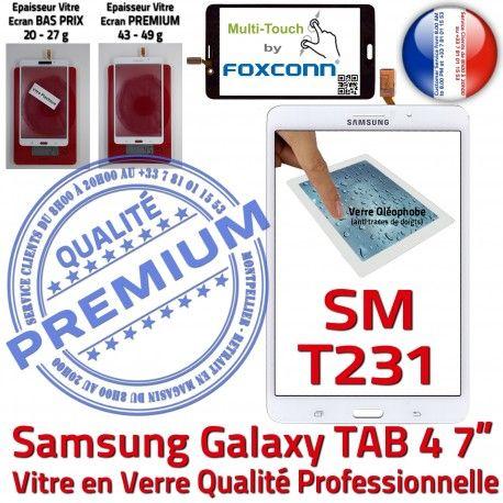 Samsung Galaxy SM-T231 TAB4 B 7 Assemblée LCD Supérieure Verre Prémonté PREMIUM inch Adhésif Ecran Blanche Qualité Tactile Vitre