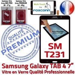 N SM-T231 Prémonté Noire Assemblée Samsung PREMIUM Verre LCD Galaxy Supérieure inch Tactile TAB4 Vitre 7 Adhésif Ecran Qualité
