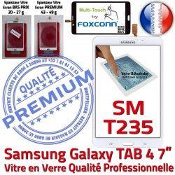 7 Supérieure PREMIUM Samsung Tactile Verre Ecran Vitre B Blanche inch Galaxy SM-T235 Prémonté Qualité LCD Adhésif TAB4 Assemblée