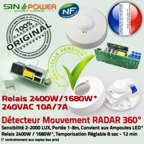 Capteur de Mouvements SINOPower 360° Détection Micro-Ondes Interrupteur Luminaire Mouvement Automatique Détecteur LED Passage Radar Présence