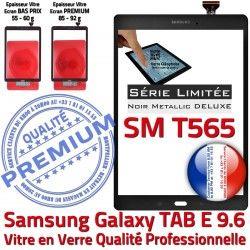 N SM-T565 Samsung TAB Metallic Verre Prémonté Adhésif Vitre TAB-E SM Ecran E Metal Noire Assemblée PREMIUM T565 Galaxy 9.6 Tactile Noir Qualité