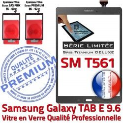 Adhésif Assemblée Samsung Gris SM-T561 Limitée TAB-E 9.6 Galaxy G Série PREMIUM Ecran Tactile Grise Titanium T561 SM Vitre Verre Qualité
